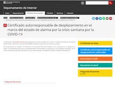 Certificat autoresponsable de desplaçament en el marc de l'estat d'alarma per la crisi sanitària per la COVID-19